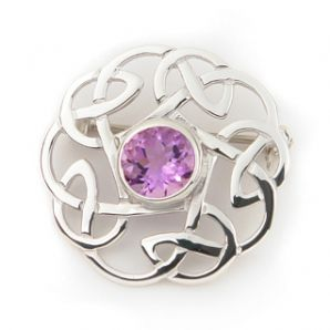 Scottish Knot Brooch set in Amethyst
